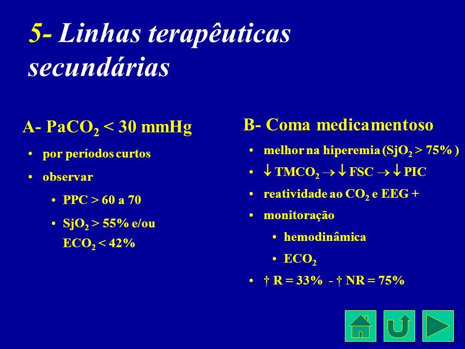 5- Linhas terapêuticas secundárias A- PaCO 2 < 30 mmHg por períodos curtos observar PPC > 60 a 70 SjO 2 > 55% e/ou ECO 2 < 42% B- Coma medicamentoso m