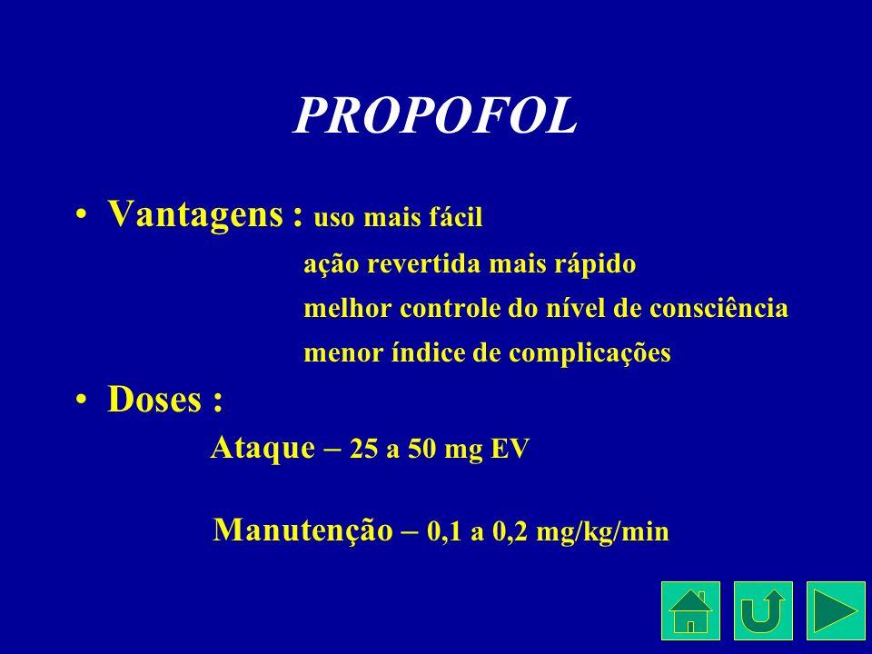 PROPOFOL Vantagens : uso mais fácil ação revertida mais rápido melhor controle do nível de consciência menor índice de complicações Doses : Ataque – 2