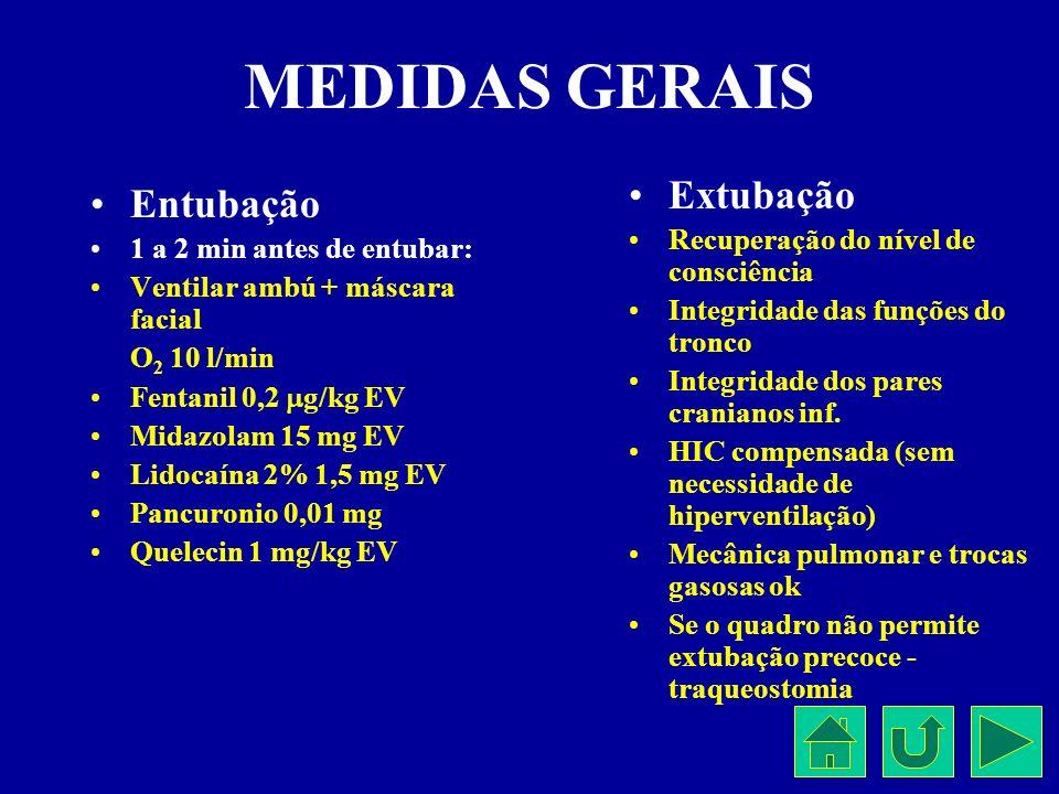 MEDIDAS GERAIS Entubação 1 a 2 min antes de entubar: Ventilar ambú + máscara facial O 2 10 l/min Fentanil 0,2 g/kg EV Midazolam 15 mg EV Lidocaína 2%