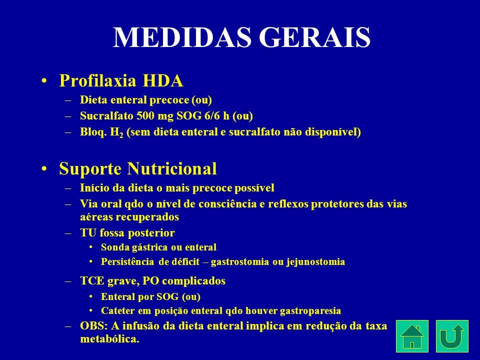 MEDIDAS GERAIS Profilaxia HDA –Dieta enteral precoce (ou) –Sucralfato 500 mg SOG 6/6 h (ou) –Bloq. H 2 (sem dieta enteral e sucralfato não disponível)