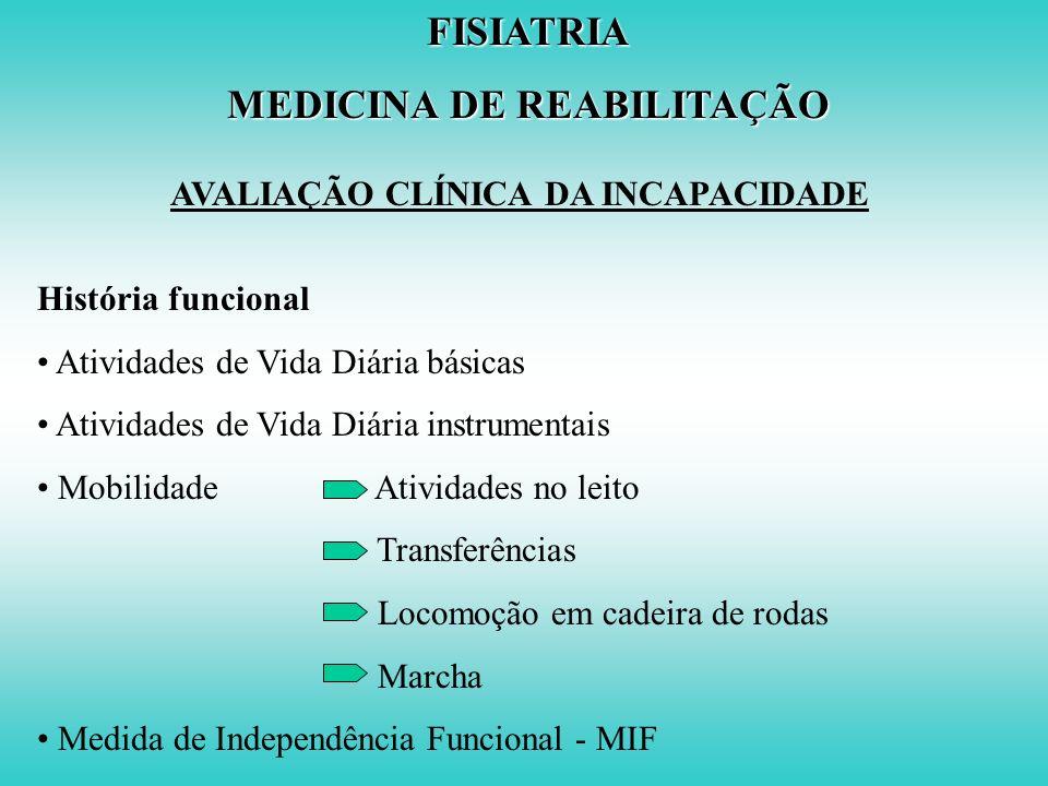 FISIATRIA MEDICINA DE REABILITAÇÃO AVALIAÇÃO CLÍNICA DA INCAPACIDADE Bases do tratamento Defeito perda estrutural Incapacidade dificuldade para ativid