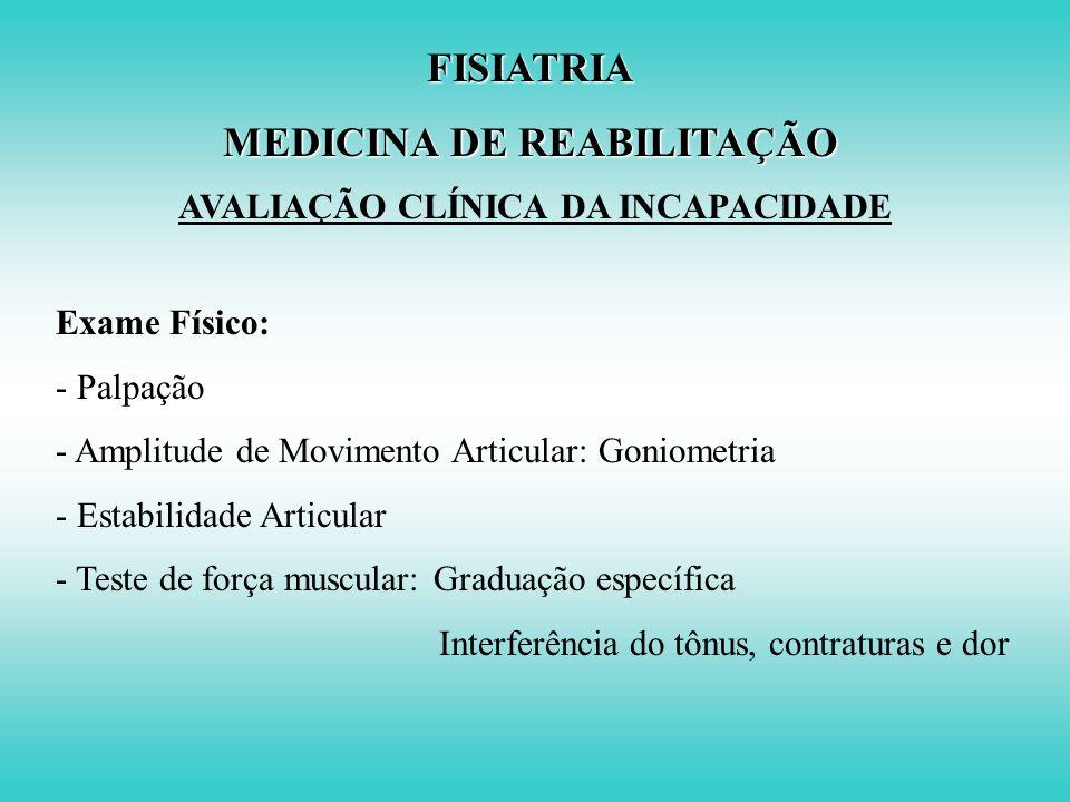 FISIATRIA MEDICINA DE REABILITAÇÃO AVALIAÇÃO CLÍNICA DA INCAPACIDADE Exame Físico: Exame Clínico Geral estabilidade Sistema Músculo Esquelético postur