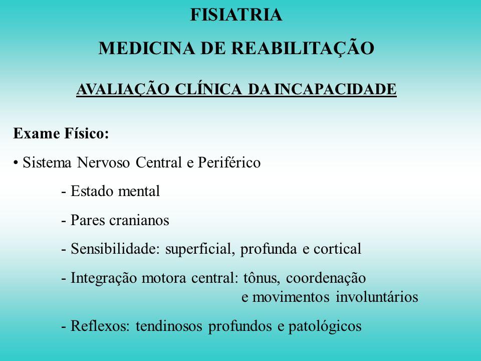 FISIATRIA MEDICINA DE REABILITAÇÃO AVALIAÇÃO CLÍNICA DA INCAPACIDADE Exame Físico: - Palpação - Amplitude de Movimento Articular: Goniometria - Estabi