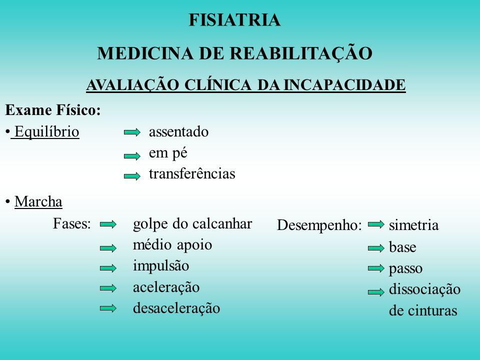 FISIATRIA MEDICINA DE REABILITAÇÃO AVALIAÇÃO CLÍNICA DA INCAPACIDADE Exame Físico: Sistema Nervoso Central e Periférico - Estado mental - Pares crania