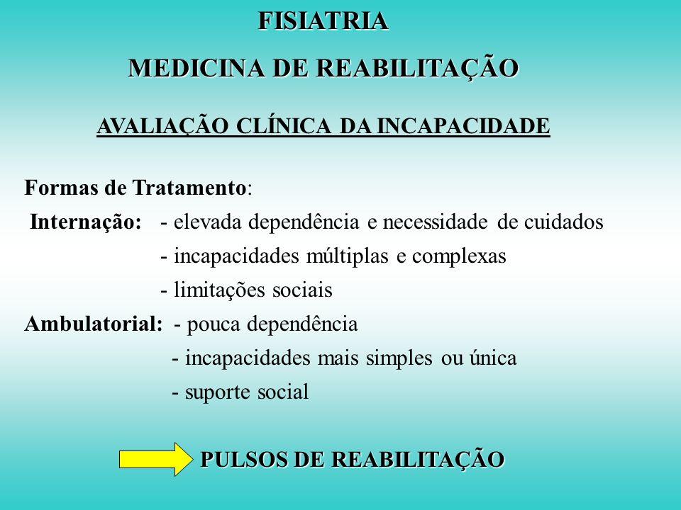 FISIATRIA MEDICINA DE REABILITAÇÃO AVALIAÇÃO CLÍNICA DA INCAPACIDADE Exame Físico: Equilíbrioassentado em pé transferências Marcha Fases: golpe do cal