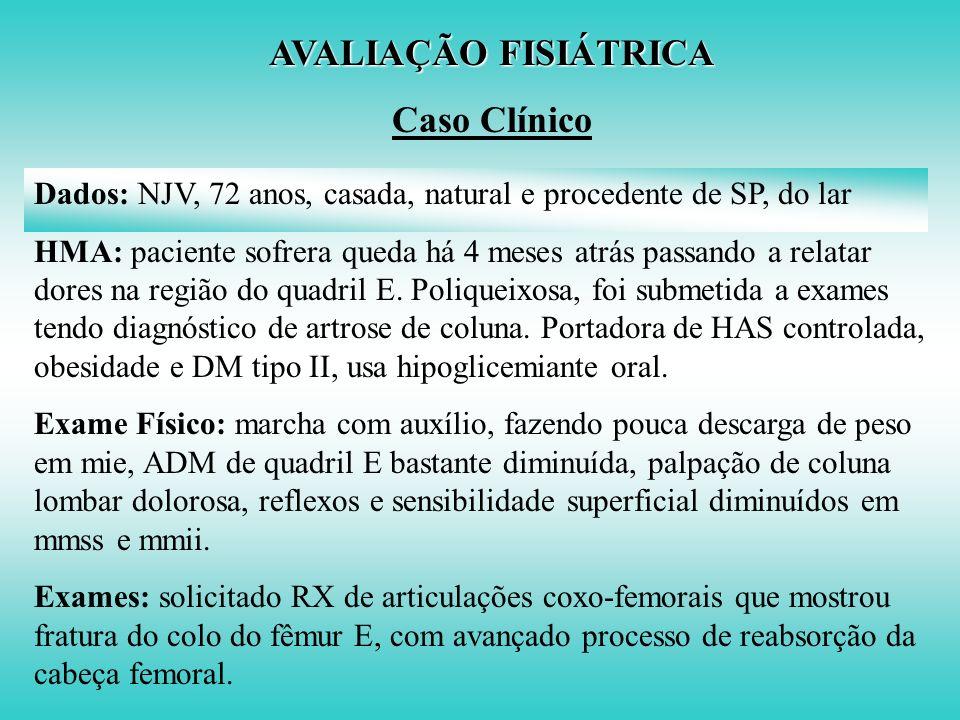 AVALIAÇÃO FISIÁTRICA Caso Clínico Proposta Terapêutica 1- Medicação: Paracetamol, Sertralina e suspensão do Fenobarbital 2- Tipóia tipo Velpeau para m
