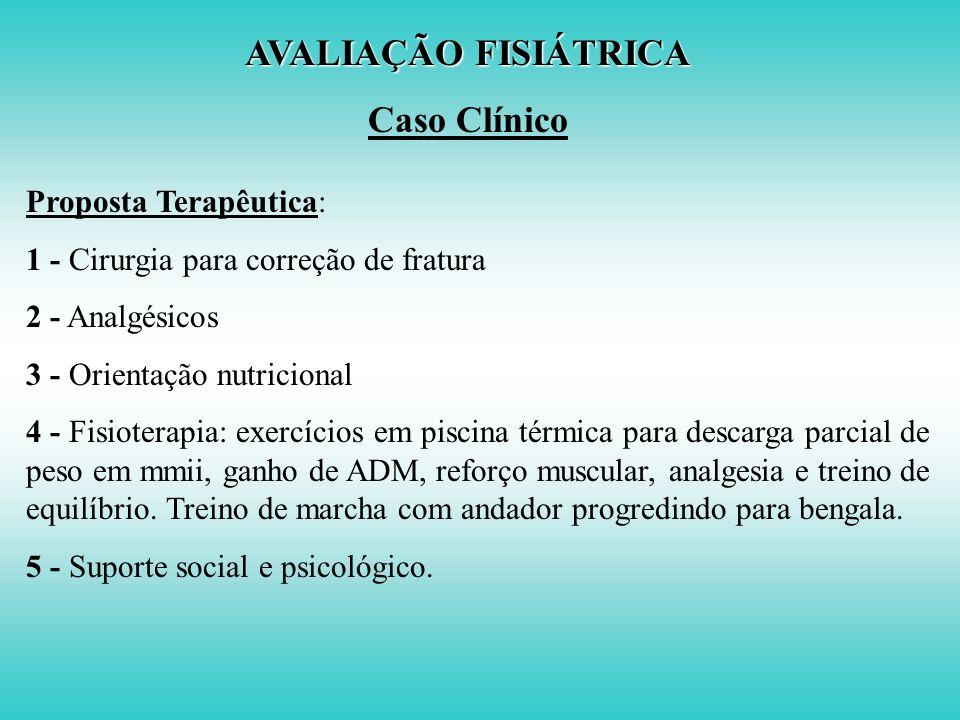 AVALIAÇÃO FISIÁTRICA Caso Clínico Diagnóstico Etiológico e Funcional: DOENÇAOBESIDADE FRATURA COLO DO FÊMUR DM / HAS DEFEITOFRAQUEZA MUSCULAR SENSIB.