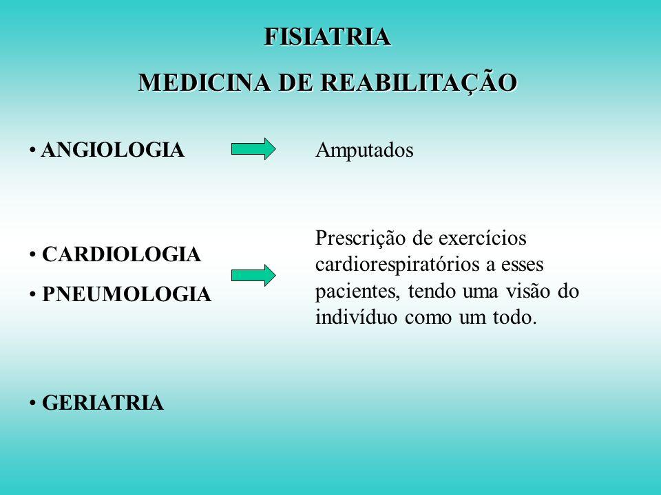 FISIATRIA MEDICINA DE REABILITAÇÃO Atuação junto a outras especialidades é fundamental para prevenção e tratamento das seqüelas das doenças: NEUROLOGI