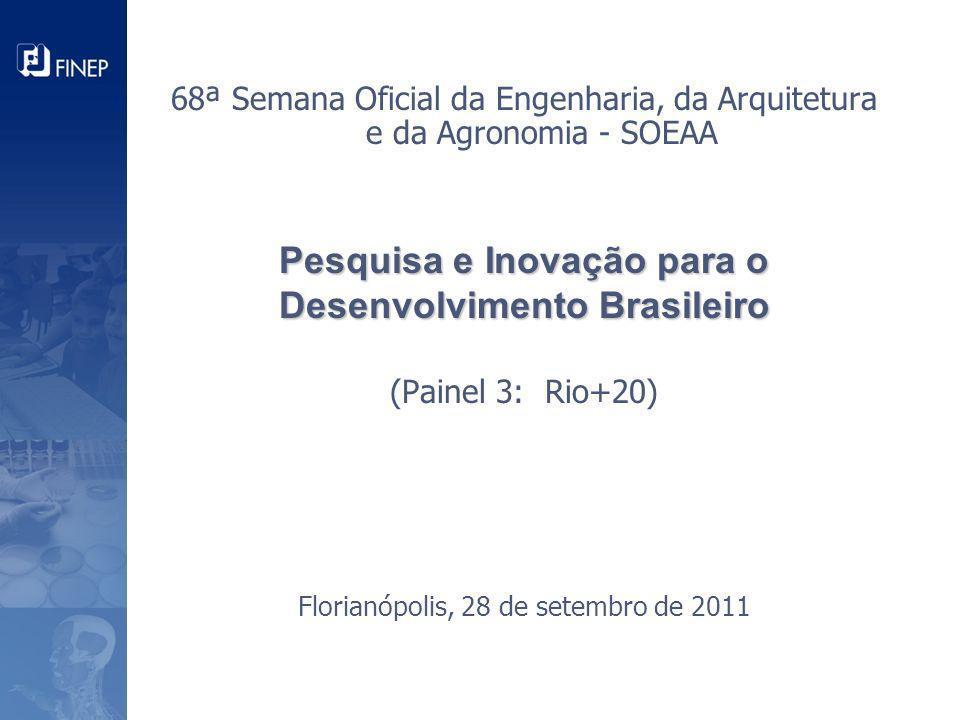 Pesquisa e Inovação para o Desenvolvimento Brasileiro Pesquisa e Inovação para o Desenvolvimento Brasileiro (Painel 3: Rio+20) Florianópolis, 28 de se