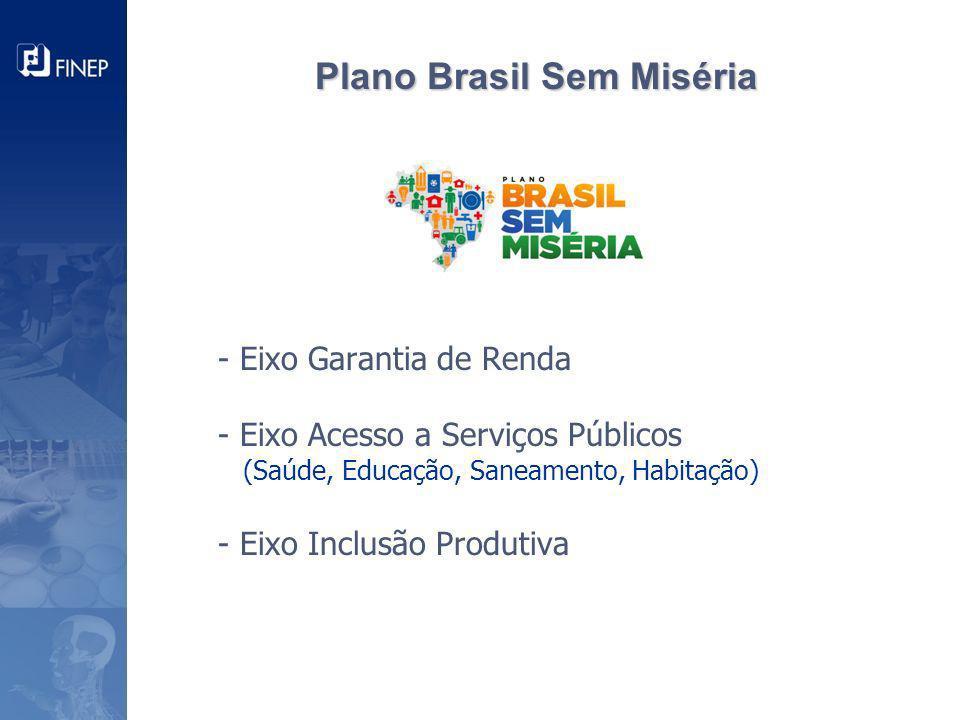 - Eixo Garantia de Renda - Eixo Acesso a Serviços Públicos (Saúde, Educação, Saneamento, Habitação) - Eixo Inclusão Produtiva Plano Brasil Sem Miséria