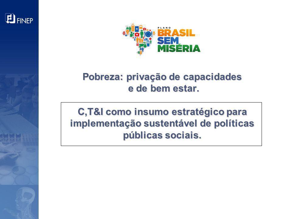 Pobreza: privação de capacidades e de bem estar. C,T&I como insumo estratégico para implementação sustentável de políticas públicas sociais.
