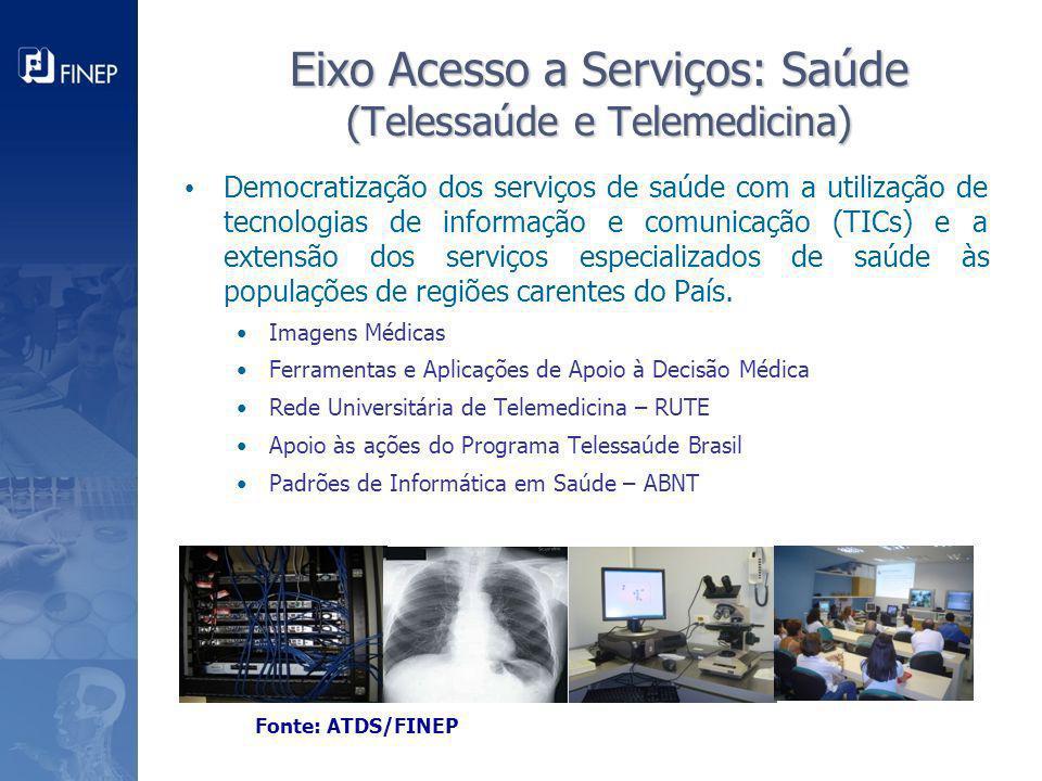 Eixo Acesso a Serviços: Saúde (Telessaúde e Telemedicina) Democratização dos serviços de saúde com a utilização de tecnologias de informação e comunic