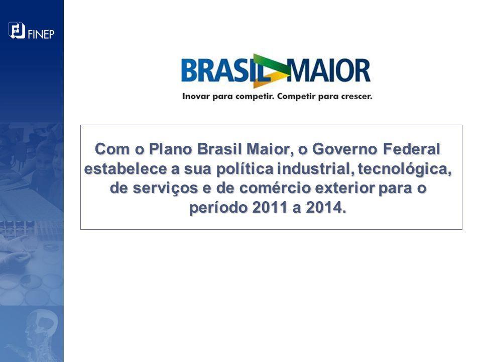 Com o Plano Brasil Maior, o Governo Federal estabelece a sua política industrial, tecnológica, de serviços e de comércio exterior para o período 2011