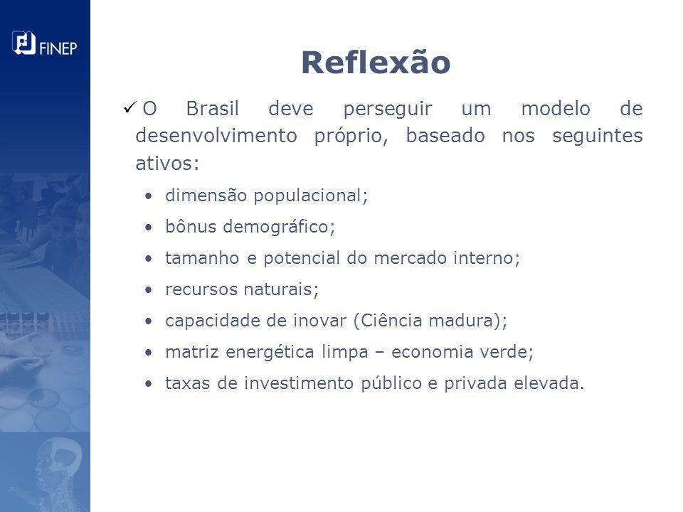 O Brasil deve perseguir um modelo de desenvolvimento próprio, baseado nos seguintes ativos: dimensão populacional; bônus demográfico; tamanho e potenc