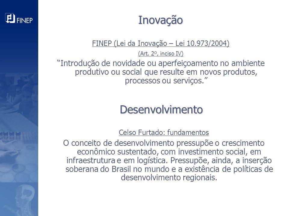 FINEP (Lei da Inovação – Lei 10.973/2004) (Art. 2º, inciso IV) Introdução de novidade ou aperfeiçoamento no ambiente produtivo ou social que resulte e