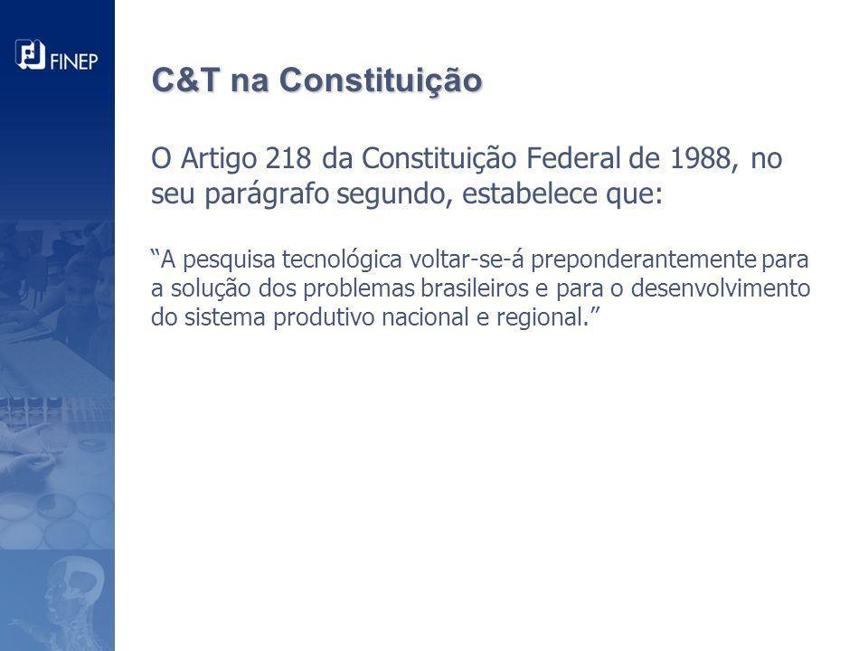 C&T na Constituição C&T na Constituição O Artigo 218 da Constituição Federal de 1988, no seu parágrafo segundo, estabelece que: A pesquisa tecnológica