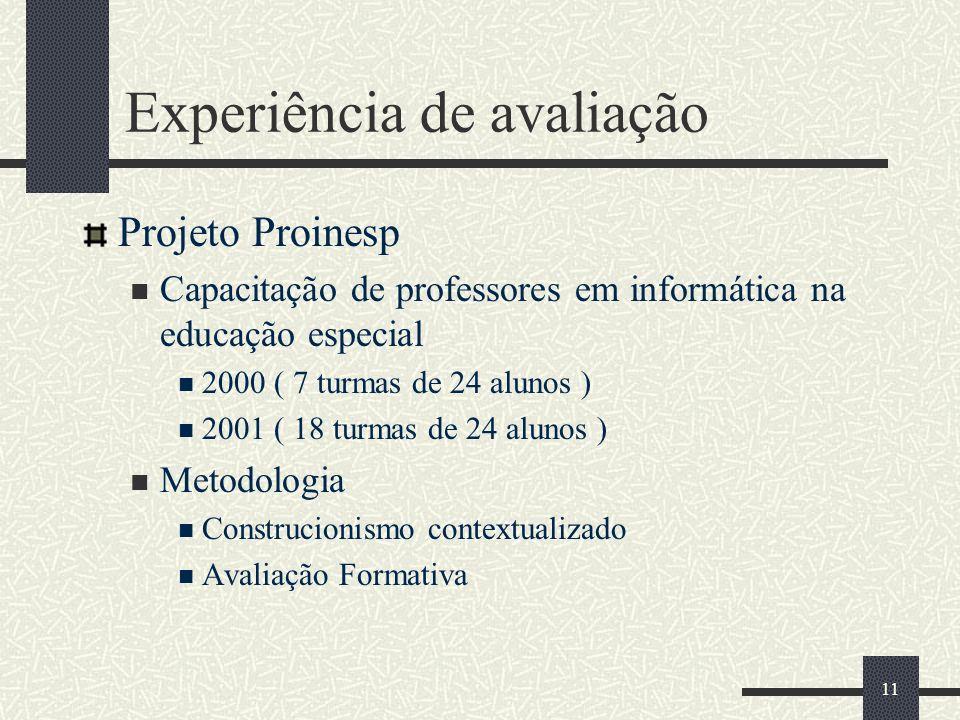 11 Experiência de avaliação Projeto Proinesp Capacitação de professores em informática na educação especial 2000 ( 7 turmas de 24 alunos ) 2001 ( 18 t