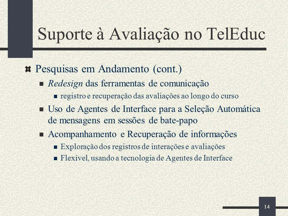 14 Suporte à Avaliação no TelEduc Pesquisas em Andamento (cont.) Redesign das ferramentas de comunicação registro e recuperação das avaliações ao long