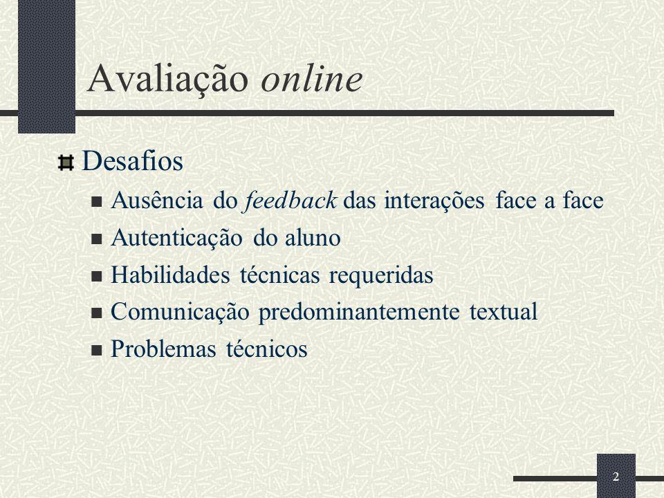 2 Avaliação online Desafios Ausência do feedback das interações face a face Autenticação do aluno Habilidades técnicas requeridas Comunicação predomin