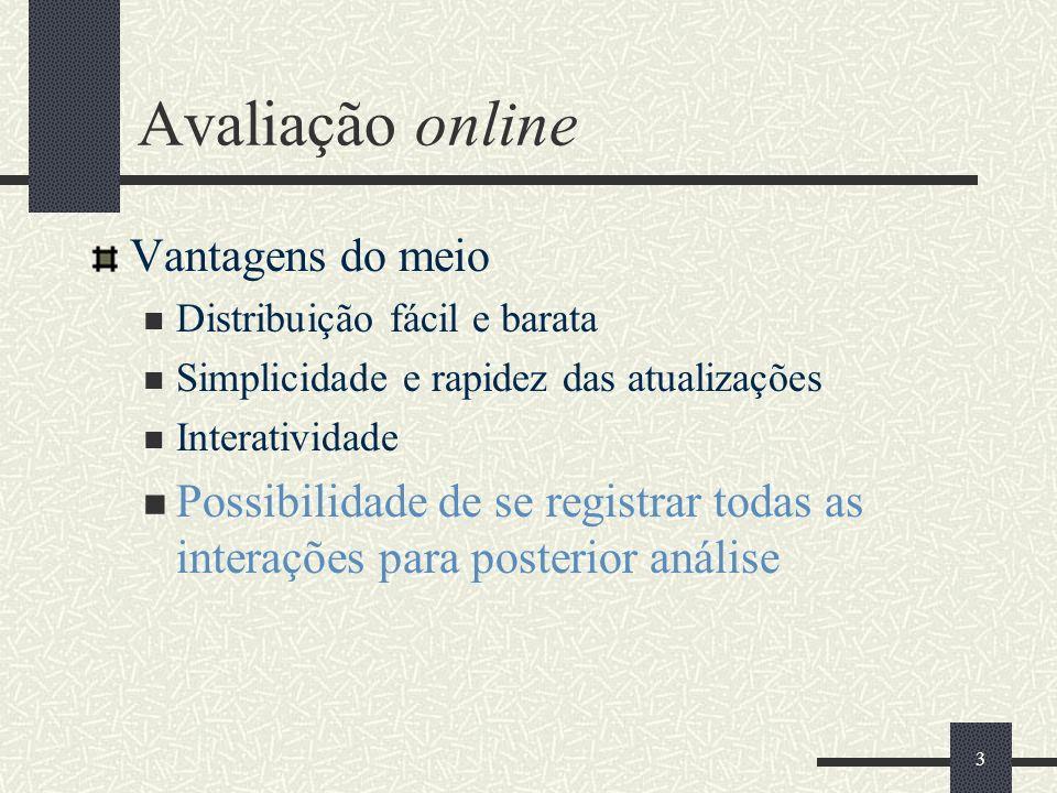 3 Avaliação online Vantagens do meio Distribuição fácil e barata Simplicidade e rapidez das atualizações Interatividade Possibilidade de se registrar