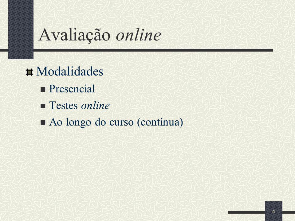 4 Avaliação online Modalidades Presencial Testes online Ao longo do curso (contínua)