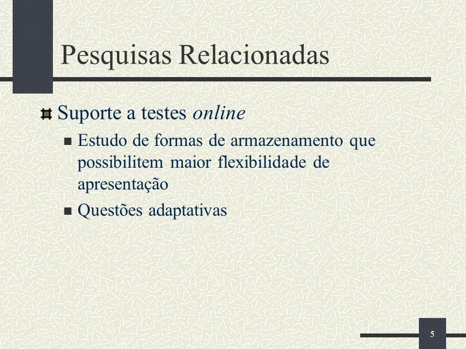 5 Pesquisas Relacionadas Suporte a testes online Estudo de formas de armazenamento que possibilitem maior flexibilidade de apresentação Questões adapt