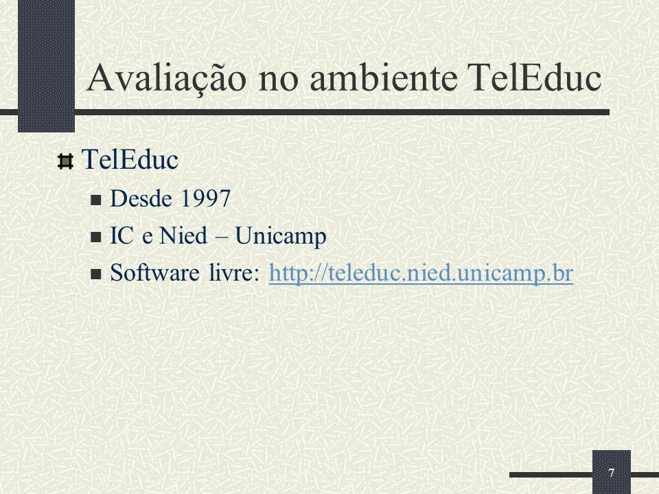 7 Avaliação no ambiente TelEduc TelEduc Desde 1997 IC e Nied – Unicamp Software livre: http://teleduc.nied.unicamp.brhttp://teleduc.nied.unicamp.br