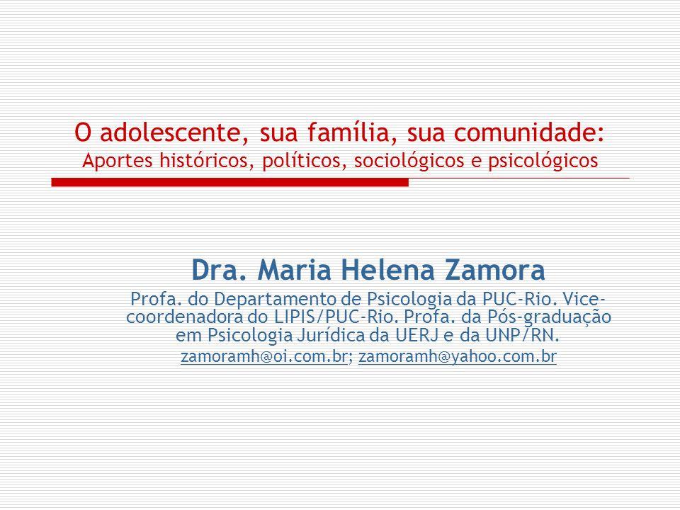 O adolescente, sua família, sua comunidade: Aportes históricos, políticos, sociológicos e psicológicos Dra. Maria Helena Zamora Profa. do Departamento