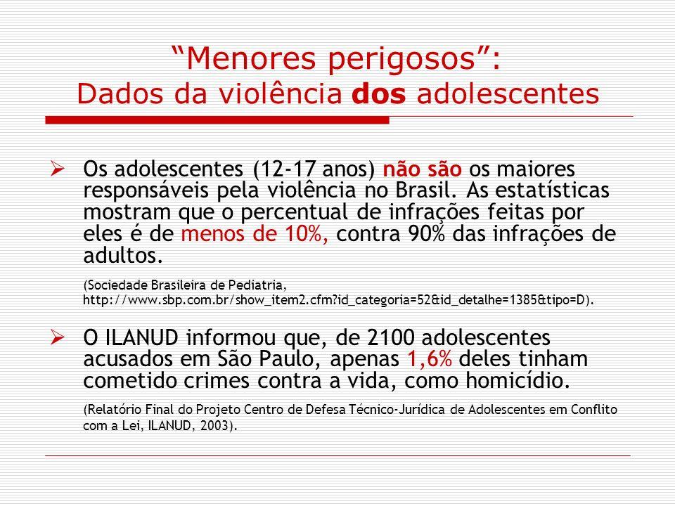Menores perigosos: Dados da violência dos adolescentes Os adolescentes (12-17 anos) não são os maiores responsáveis pela violência no Brasil. As estat