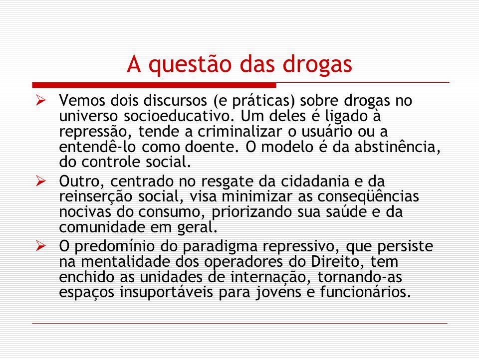 A questão das drogas Vemos dois discursos (e práticas) sobre drogas no universo socioeducativo. Um deles é ligado à repressão, tende a criminalizar o