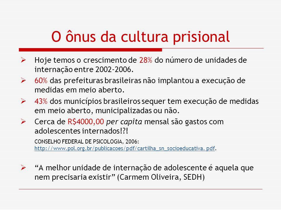 O ônus da cultura prisional Hoje temos o crescimento de 28% do número de unidades de internação entre 2002-2006. 60% das prefeituras brasileiras não i