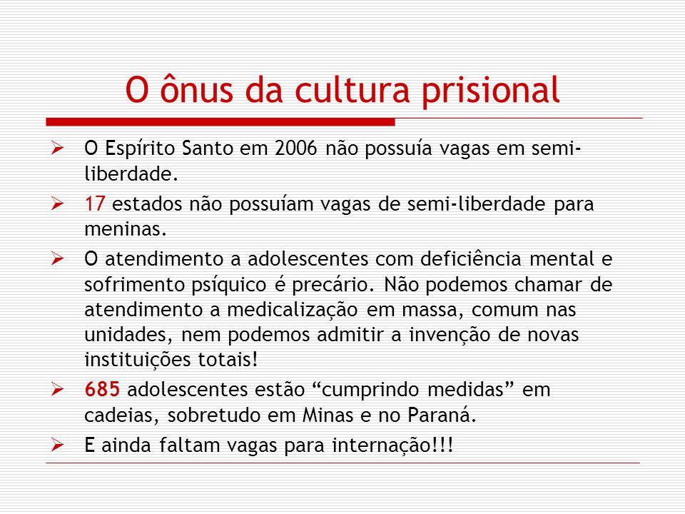 O ônus da cultura prisional O Espírito Santo em 2006 não possuía vagas em semi- liberdade. 17 estados não possuíam vagas de semi-liberdade para menina