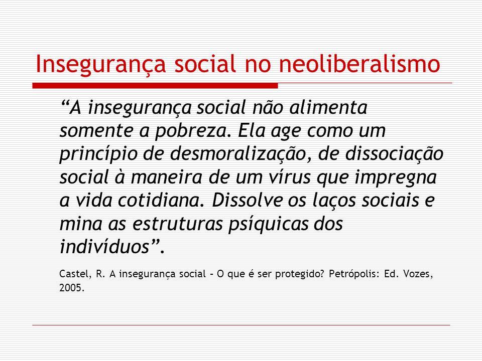 Insegurança social no neoliberalismo A insegurança social não alimenta somente a pobreza. Ela age como um princípio de desmoralização, de dissociação