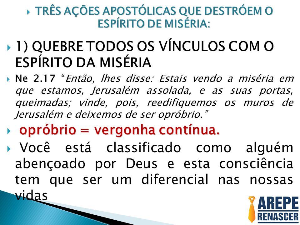 TRÊS AÇÕES APOSTÓLICAS QUE DESTRÓEM O ESPÍRITO DE MISÉRIA: TRÊS AÇÕES APOSTÓLICAS QUE DESTRÓEM O ESPÍRITO DE MISÉRIA: 1) QUEBRE TODOS OS VÍNCULOS COM