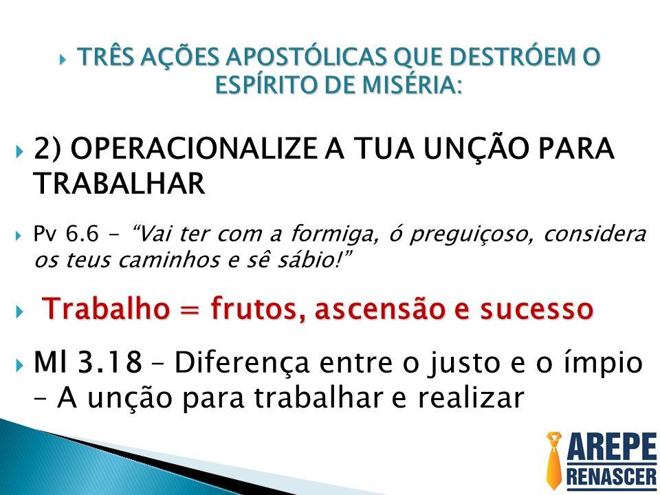 TRÊS AÇÕES APOSTÓLICAS QUE DESTRÓEM O ESPÍRITO DE MISÉRIA: TRÊS AÇÕES APOSTÓLICAS QUE DESTRÓEM O ESPÍRITO DE MISÉRIA: 2) OPERACIONALIZE A TUA UNÇÃO PA