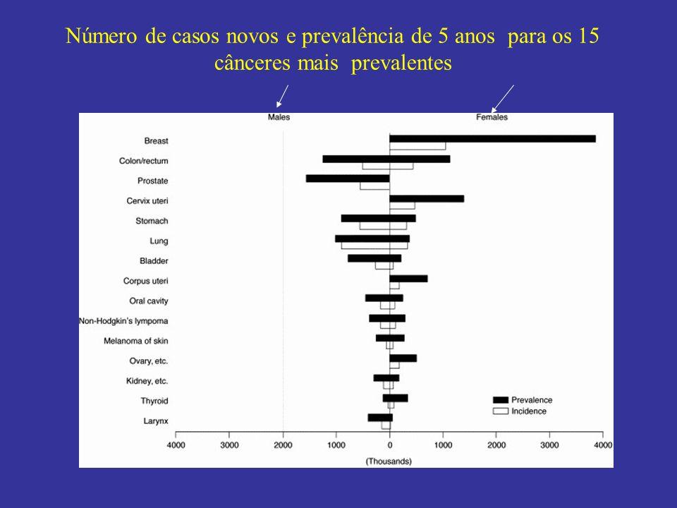 Número de casos novos e prevalência de 5 anos para os 15 cânceres mais prevalentes
