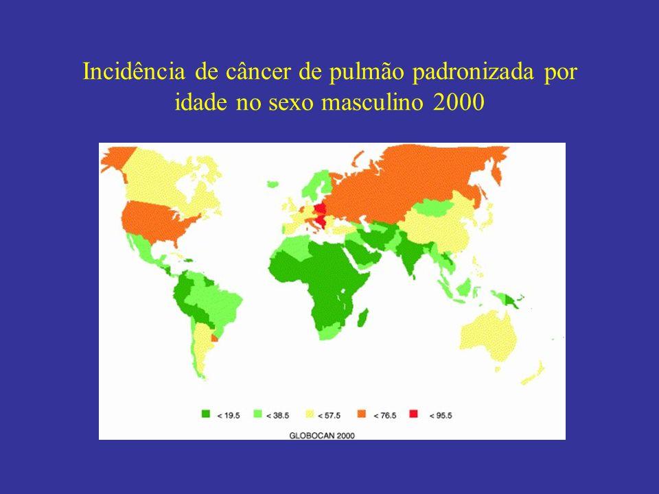 Incidência de câncer de pulmão padronizada por idade no sexo masculino 2000