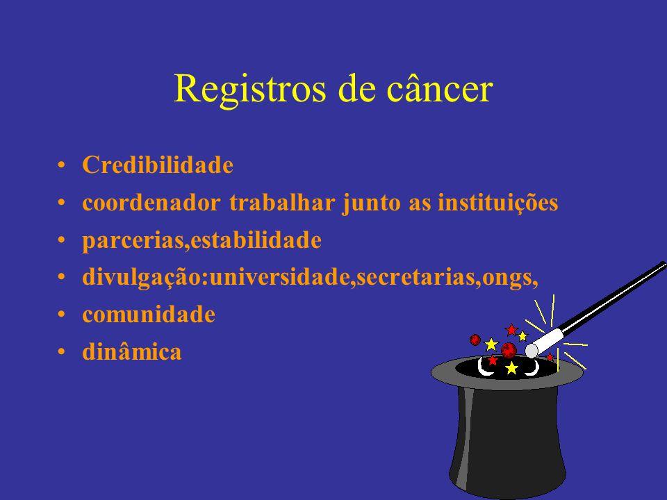 Registros de câncer Credibilidade coordenador trabalhar junto as instituições parcerias,estabilidade divulgação:universidade,secretarias,ongs, comunid