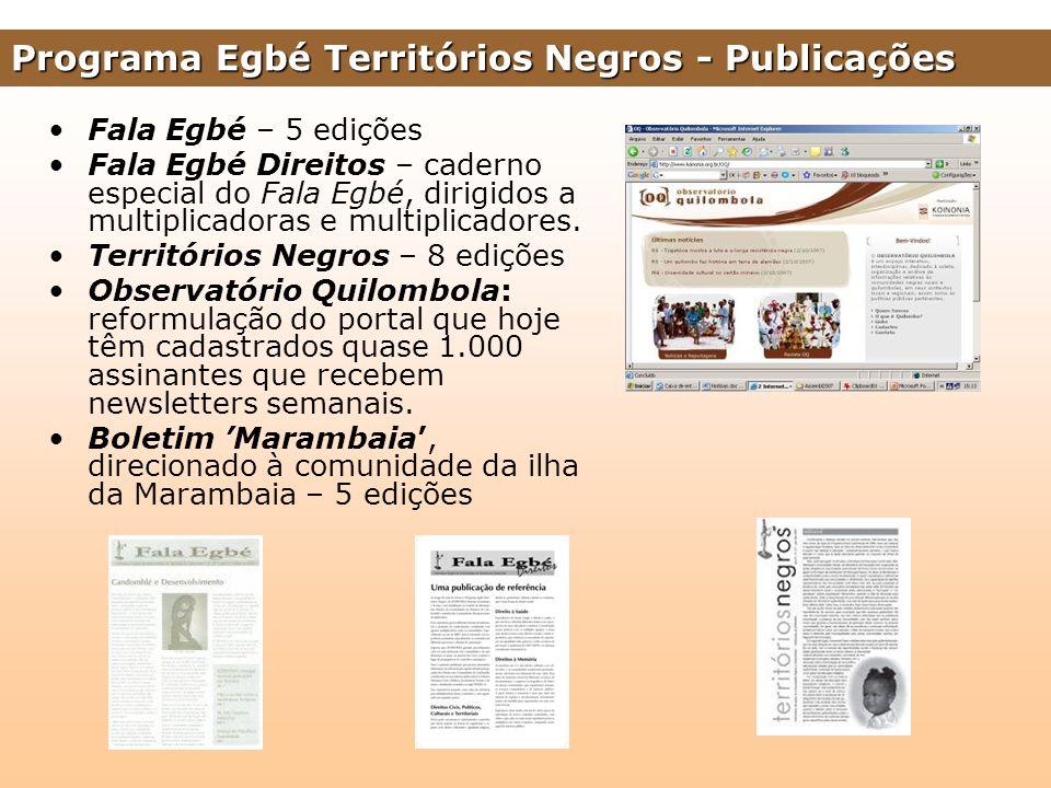 Fala Egbé – 5 edições Fala Egbé Direitos – caderno especial do Fala Egbé, dirigidos a multiplicadoras e multiplicadores. Territórios Negros – 8 ediçõe