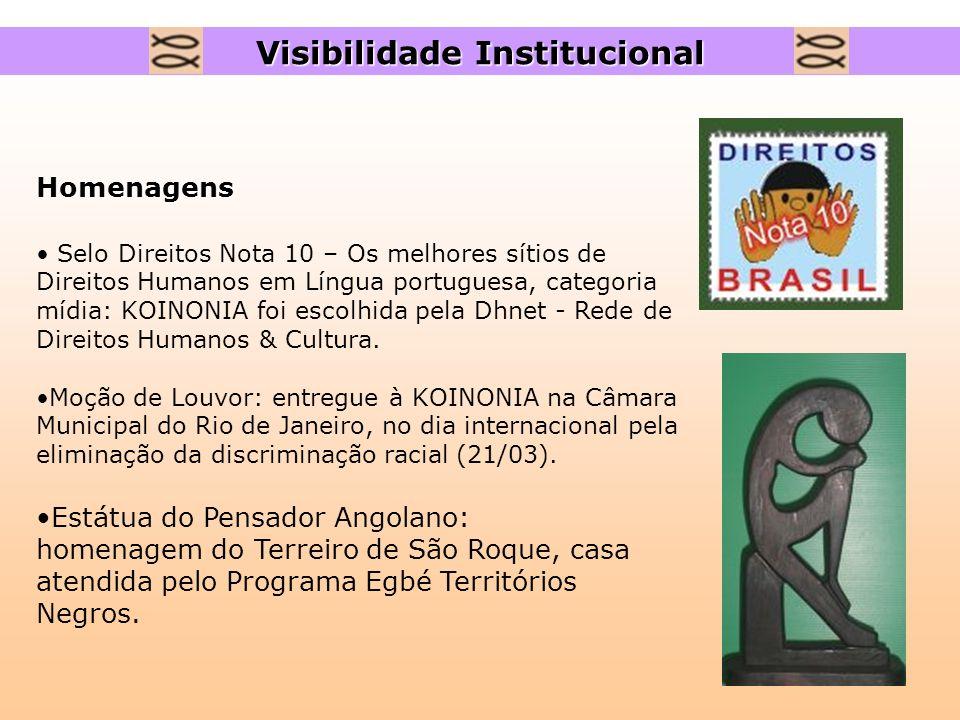 Homenagens Selo Direitos Nota 10 – Os melhores sítios de Direitos Humanos em Língua portuguesa, categoria mídia: KOINONIA foi escolhida pela Dhnet - R
