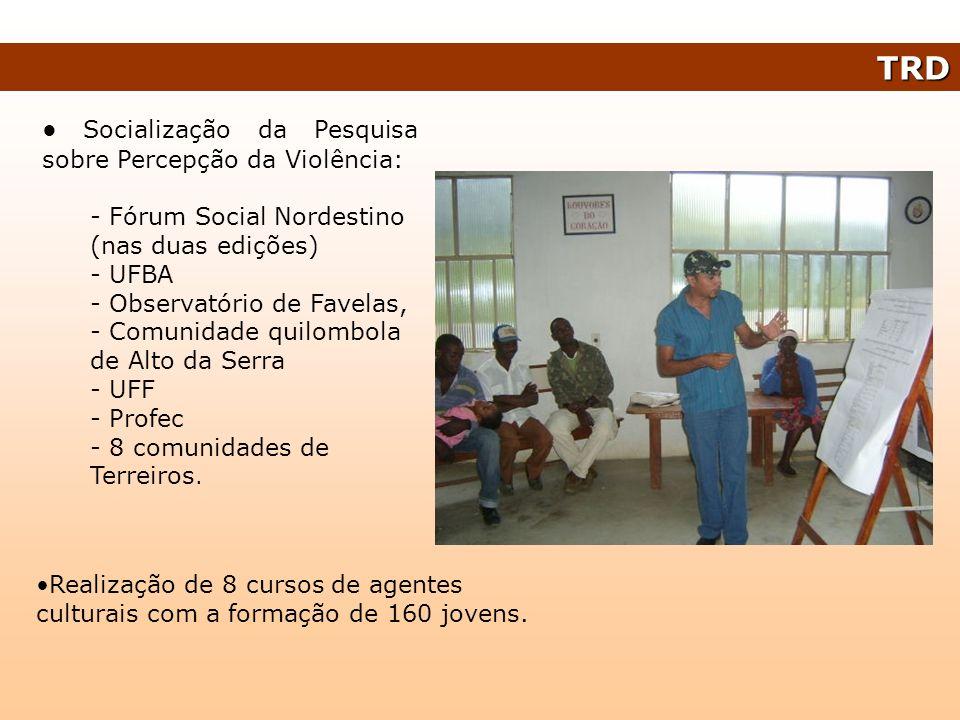 Socialização da Pesquisa sobre Percepção da Violência: - Fórum Social Nordestino (nas duas edições) - UFBA - Observatório de Favelas, - Comunidade qui