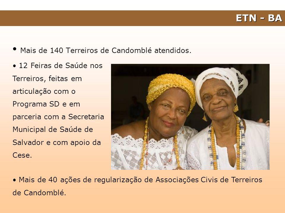 ETN - BA Mais de 140 Terreiros de Candomblé atendidos. Mais de 40 ações de regularização de Associações Civis de Terreiros de Candomblé. 12 Feiras de