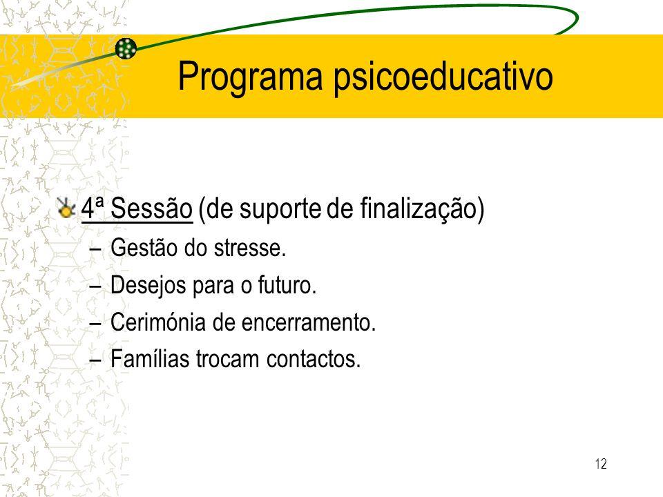 12 Programa psicoeducativo 4ª Sessão (de suporte de finalização) –Gestão do stresse. –Desejos para o futuro. –Cerimónia de encerramento. –Famílias tro