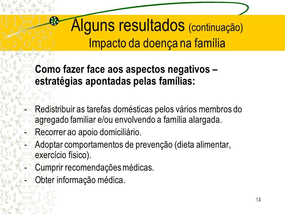 14 Alguns resultados (continuação) Impacto da doença na família Como fazer face aos aspectos negativos – estratégias apontadas pelas famílias: -Redist