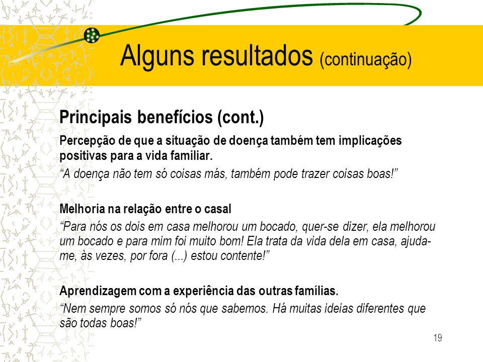 19 Alguns resultados (continuação) Principais benefícios (cont.) Percepção de que a situação de doença também tem implicações positivas para a vida fa