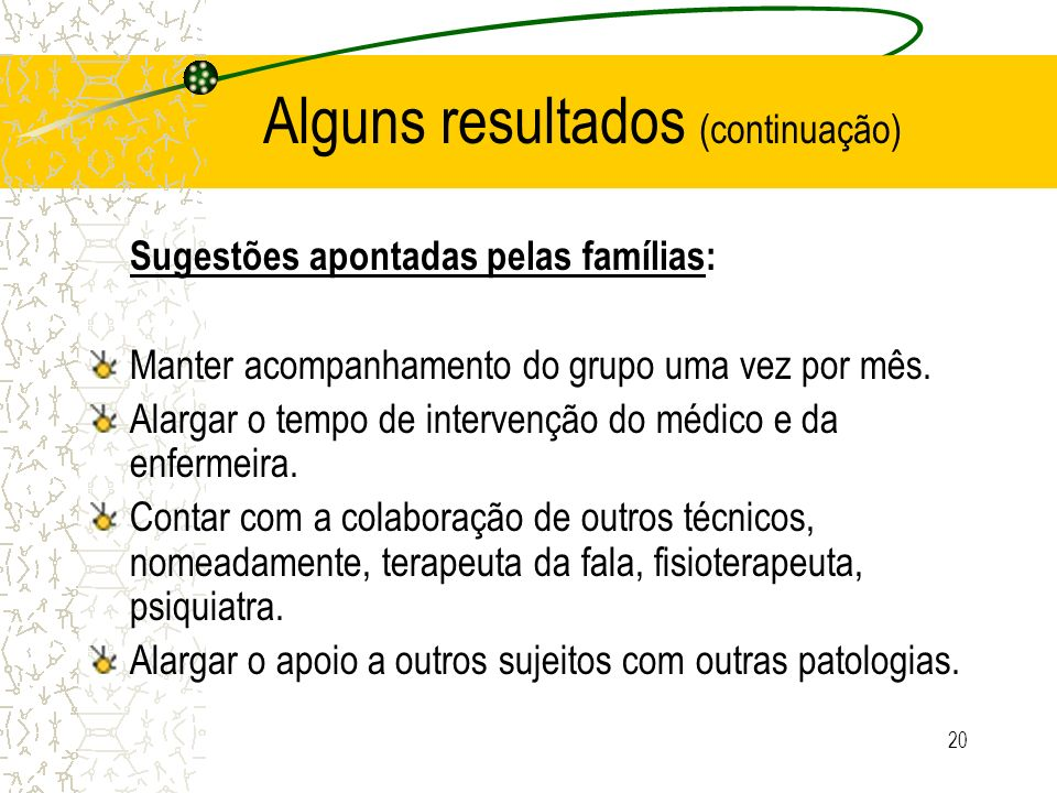 20 Alguns resultados (continuação) Sugestões apontadas pelas famílias: Manter acompanhamento do grupo uma vez por mês. Alargar o tempo de intervenção