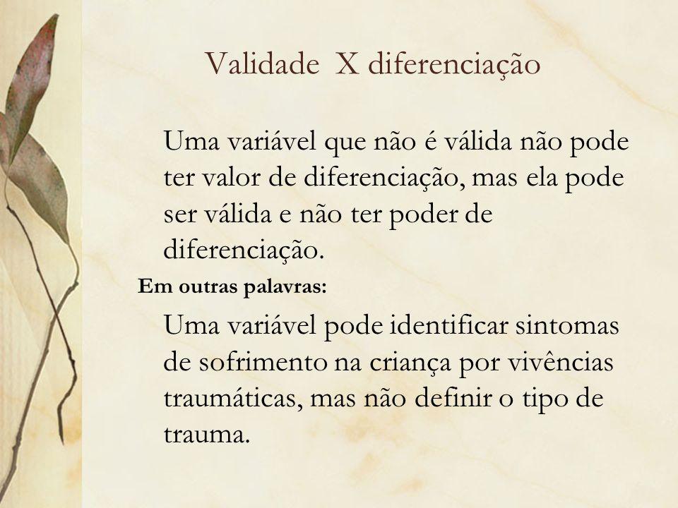 Validade X diferenciação Uma variável que não é válida não pode ter valor de diferenciação, mas ela pode ser válida e não ter poder de diferenciação.