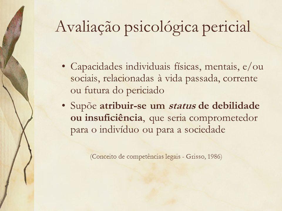 Avaliação psicológica pericial Capacidades individuais físicas, mentais, e/ou sociais, relacionadas à vida passada, corrente ou futura do periciado Su