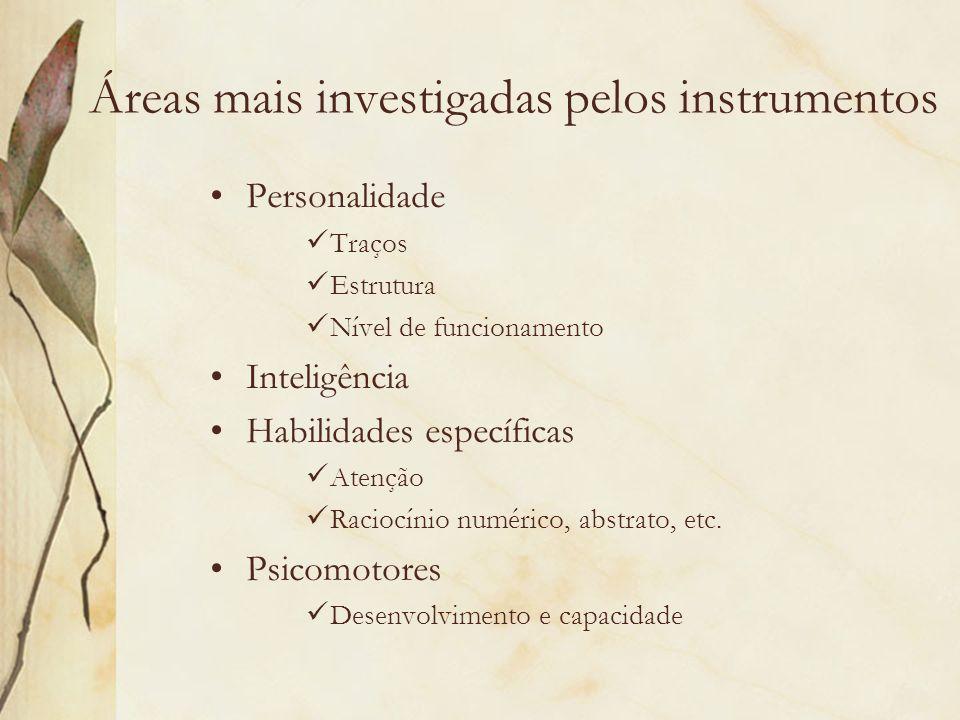 Áreas mais investigadas pelos instrumentos Personalidade Traços Estrutura Nível de funcionamento Inteligência Habilidades específicas Atenção Raciocín