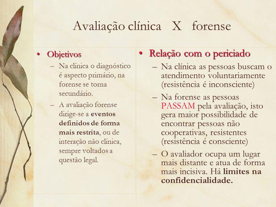Avaliação clínica X forense ObjetivosObjetivos –Na clínica o diagnóstico é aspecto primário, na forense se torna secundário. –A avaliação forense diri